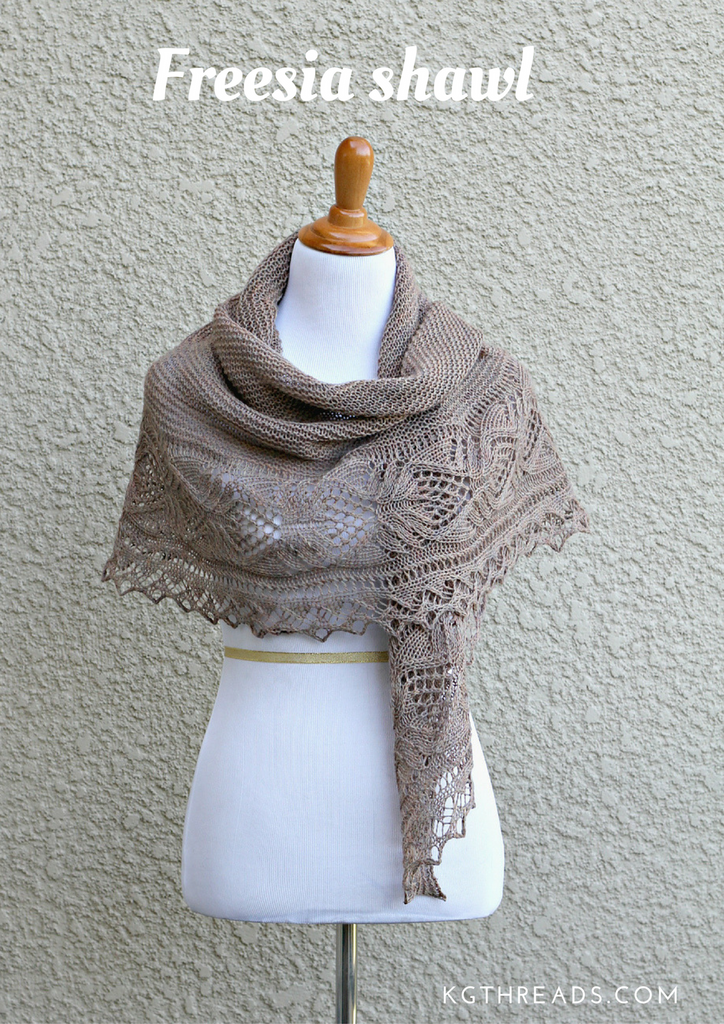 Freesia shawl knitting pattern