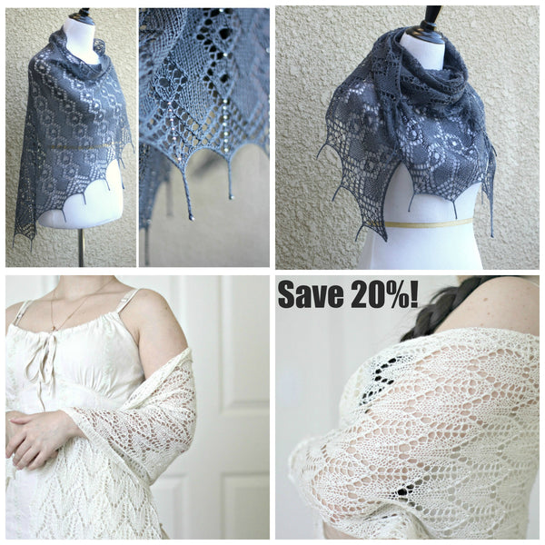 Knitting patterns - 2 knit shawl with seed beads patterns bundle