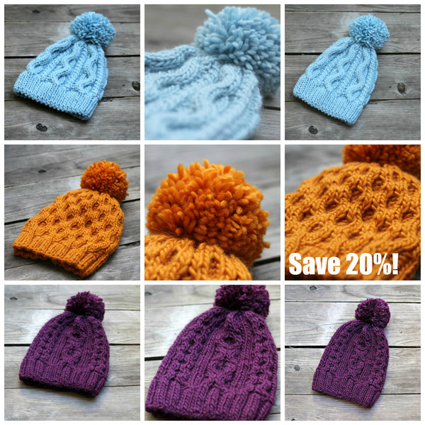 Knitting Patterns 3 Knitted Hat Patterns Bundle Kgthreads