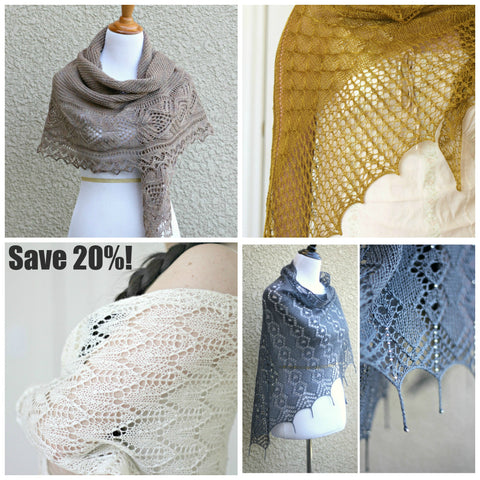 Knitting patterns - 4 knit shawl patterns bundle