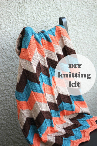 DIY Knitting kit - knit baby blanket in chevron pattern, newborn blanket, baby shower gift