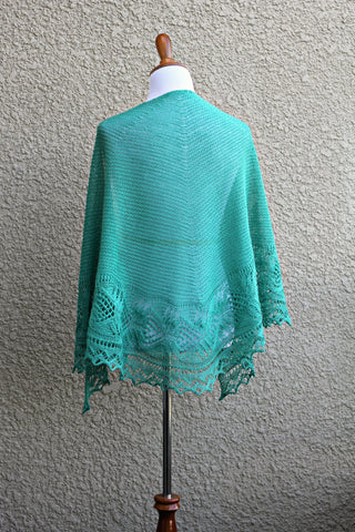 Minty shawl with laced border