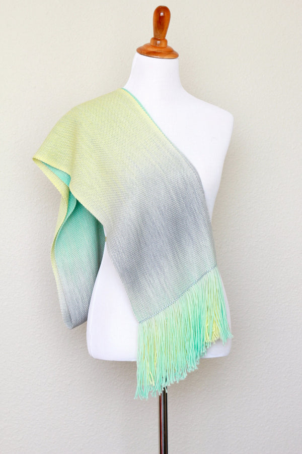 Woven scarf in yellow, green and grey colors