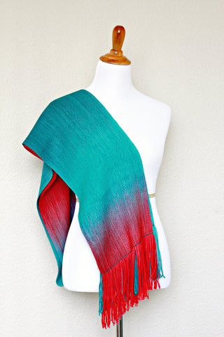 Woven scarf in teal and red colors, gift for her