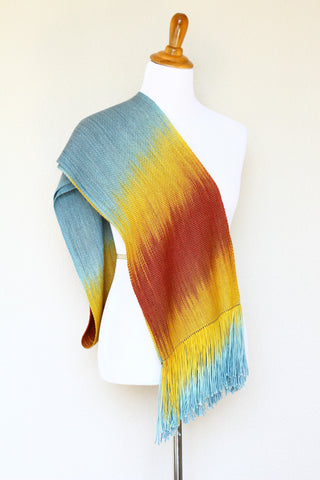 Woven long scarf gradient color blue red yellow long with fringe