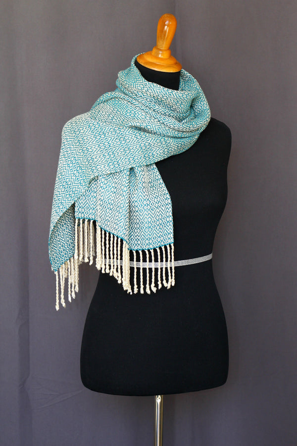 Woven scarf in teal and cream colors, bamboo scarf, summer scarf, long scarf with fringe