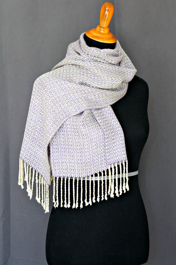 Woven scarf in violet colors, bamboo scarf, summer scarf, long scarf with fringe