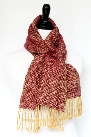 Woven scarf in mustard and purple colors in merino wool and tencel