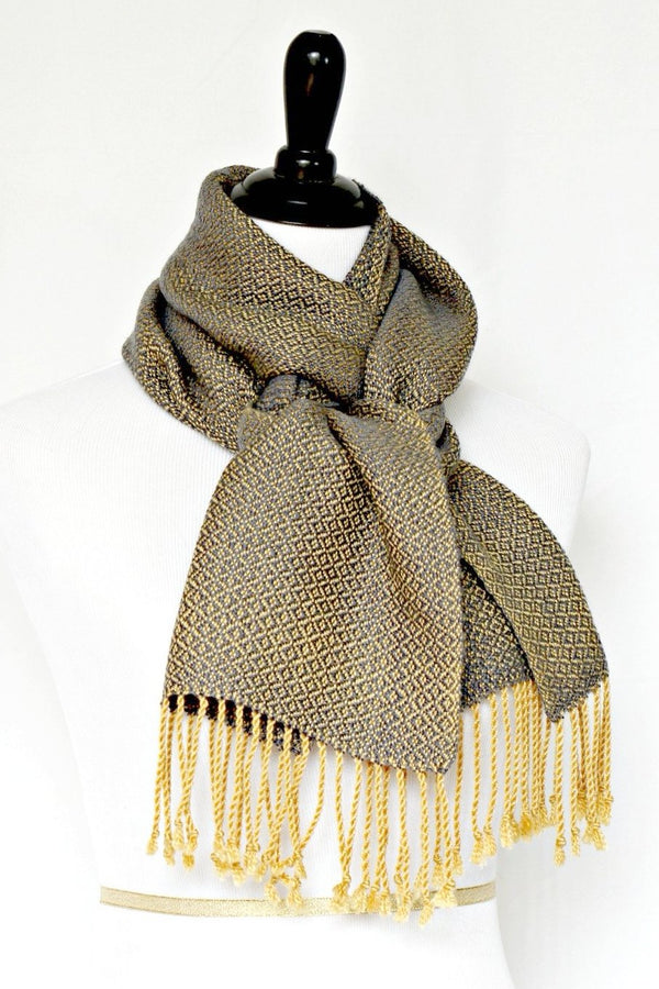 Woven scarf in mustard grey colors in merino wool and tencel