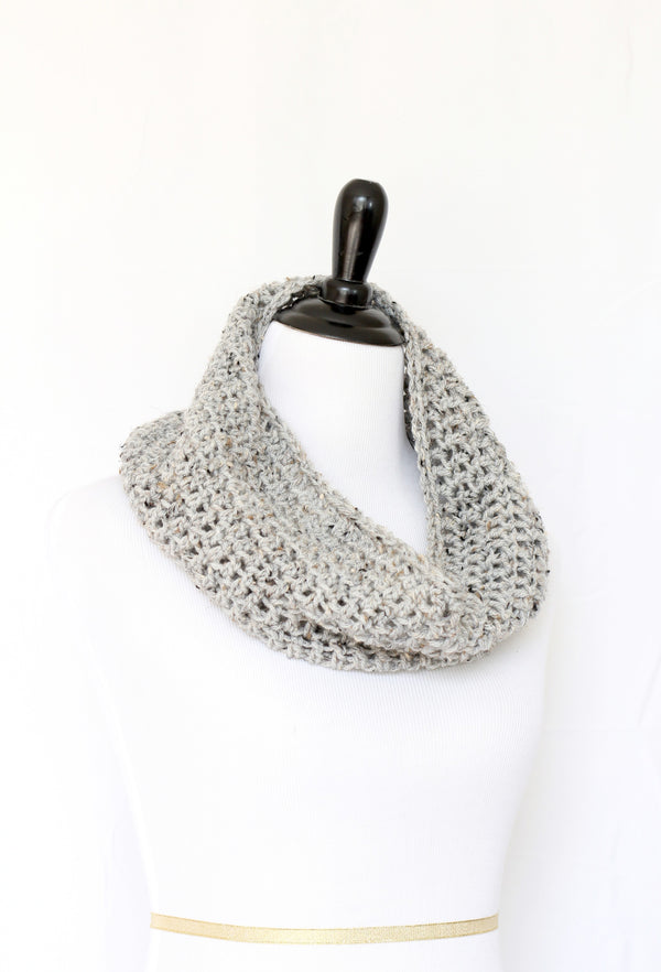 Crochet infinity scarf in grey color, chunky cowl