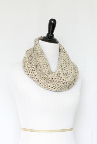 Crochet infinity scarf in beige color, chunky cowl