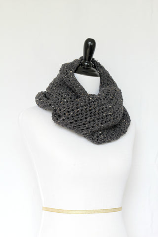 Crochet cowl in dark grey color, chunky infinity scarf