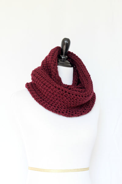 Crochet cowl in burgundy color, chunky infinity scarf