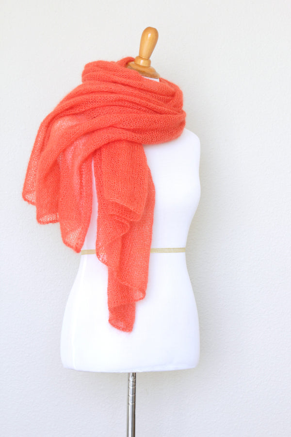 Knit scarf in silk mohair blend in burnt orange red color