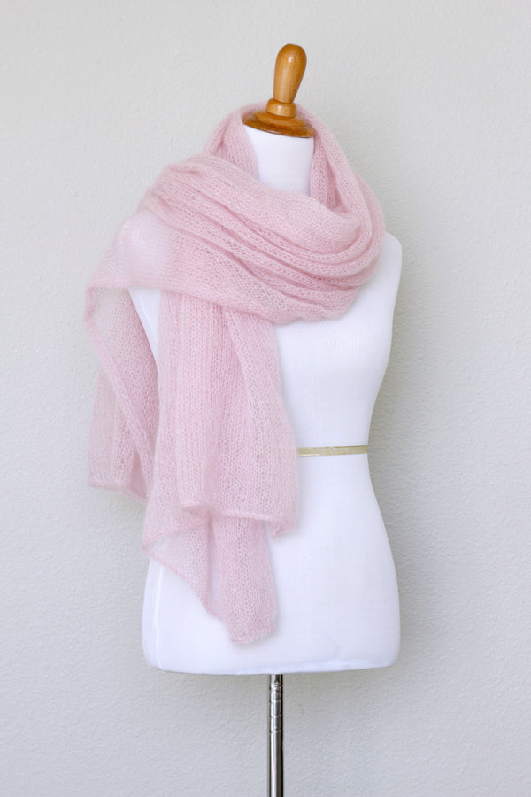 Knit shawl in silk mohair blend in soft pink color