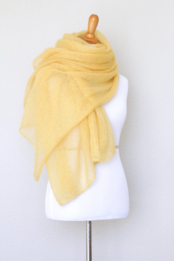 Knit wrap in silk mohair blend in yellow color