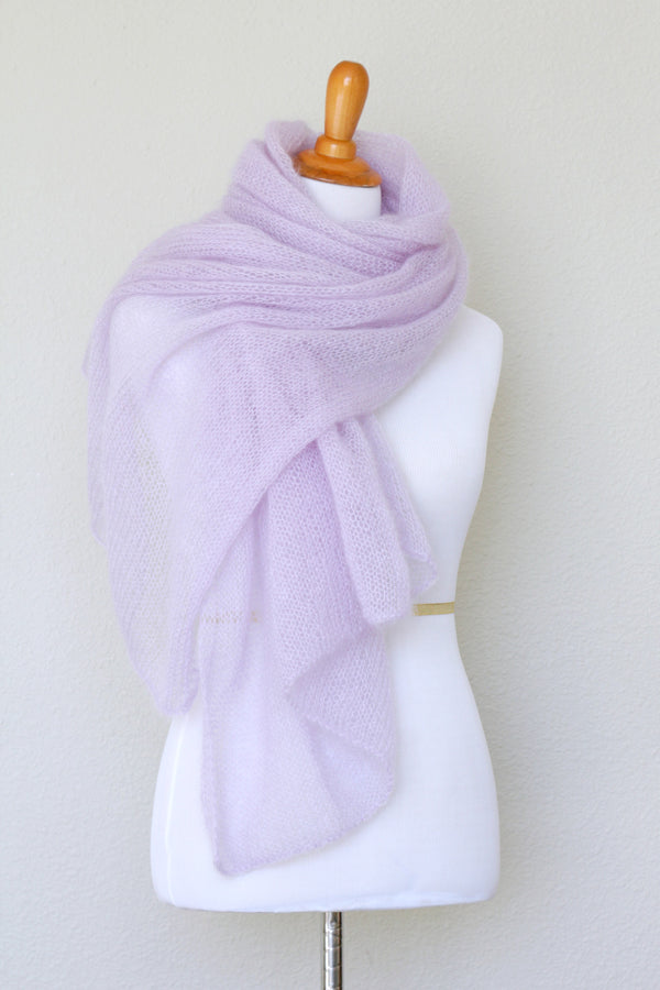 Knit wrap in silk mohair blend in lavender color