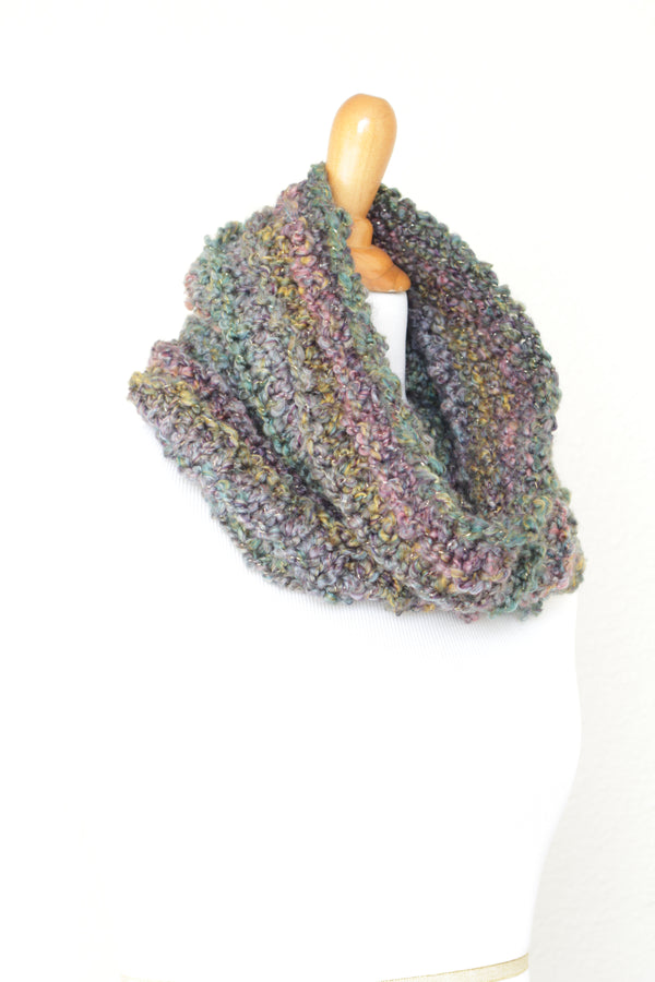 Crochet cowl in green and lavender colors, chunky infinity scarf - 4 colorways available