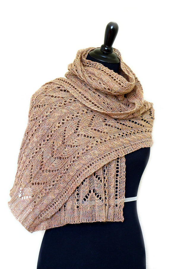 Knit shawl, lace stole for women in heather beige color, wool shawl