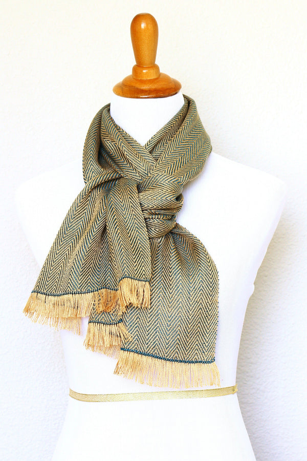 Woven scarf in gold and teal colors with twill pattern, Eucalyptus scarf with fringe
