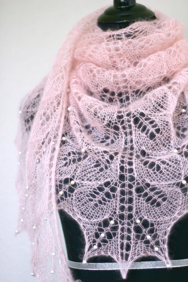Knit shawl with pearls, silk mohair shawl in soft pink color, pink shawl