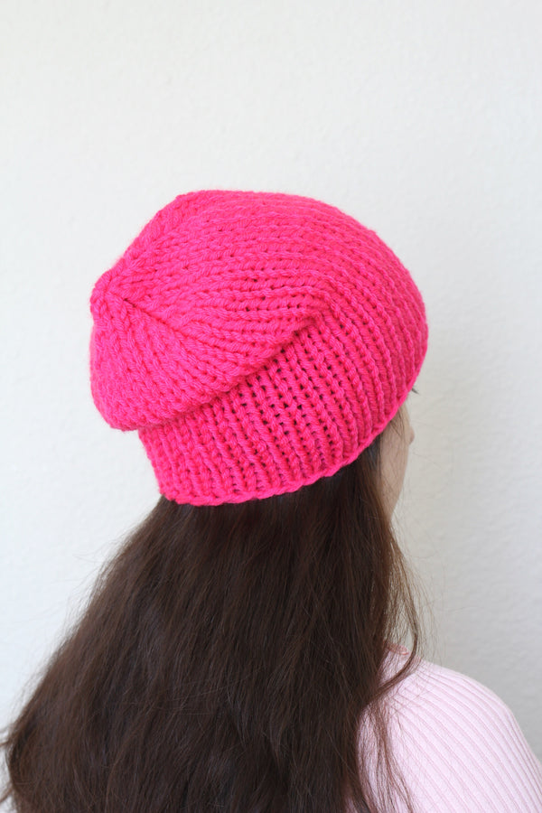 Beanie hat, knit hat, slouchy hat, knit beanie in hot pink color