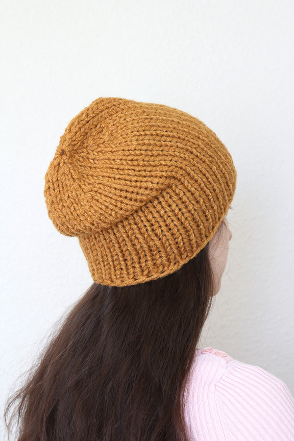 Beanie hat, knit hat, slouchy hat, knit beanie in honey yellow color