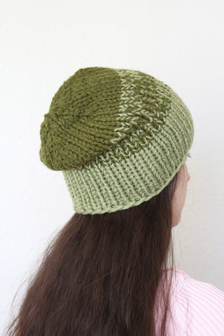 Beanie hat, knit hat, slouchy hat, knit beanie in olive green color