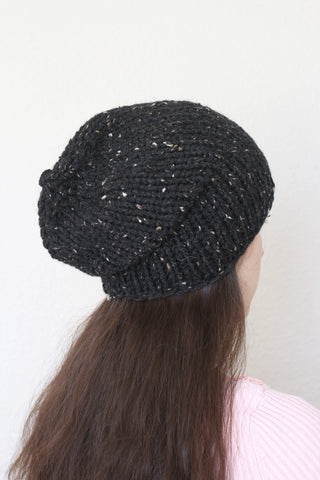 Beanie hat, knit hat, slouchy hat, knit beanie in tweed black color