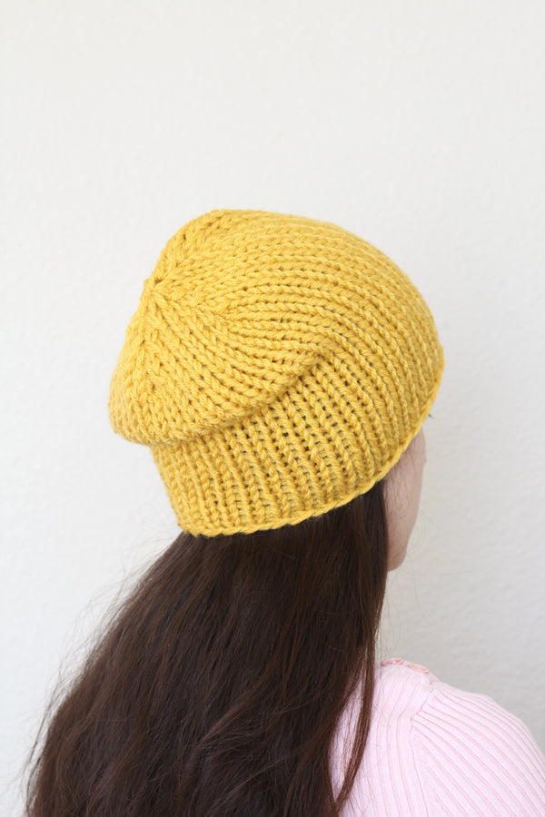 Beanie hat, knit hat, slouchy hat, knit beanie in mustard yellow color