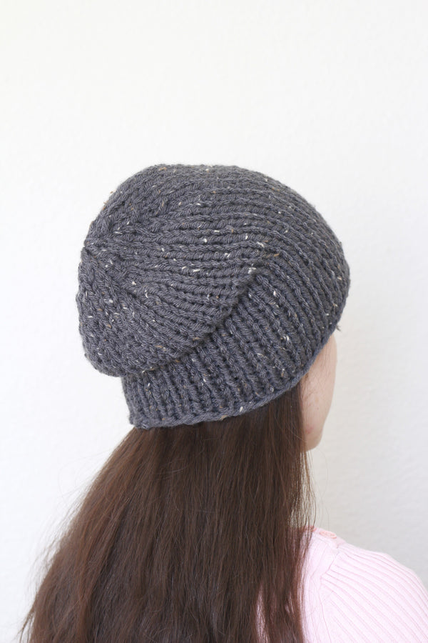 Beanie hat, knit hat, slouchy hat, knit beanie in dark grey color tweed hat