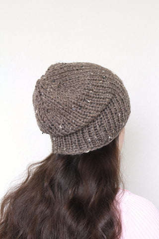 Beanie hat, knit hat, slouchy hat, knit beanie in brown color tweed hat