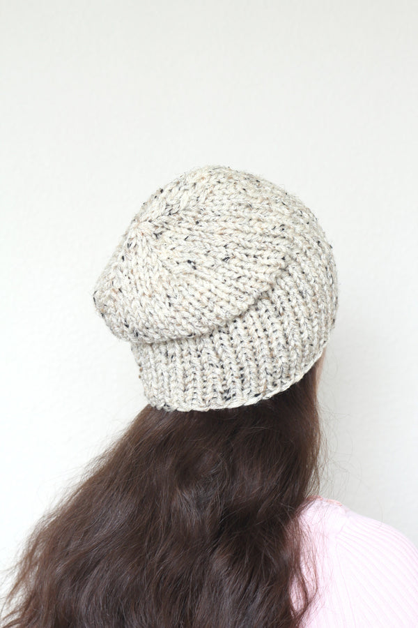 Beanie hat, knit hat, slouchy hat, knit beanie in oatmeal tweed hat