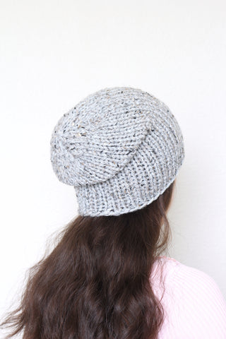 Beanie hat, knit hat, slouchy hat, knit beanie in grey color tweed hat