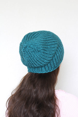 Beanie hat, knit hat, slouchy hat, knit beanie in dark teal color