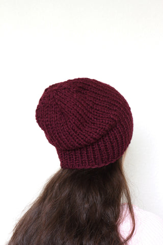Beanie hat, knit hat, slouchy hat, knit beanie in burgundy color