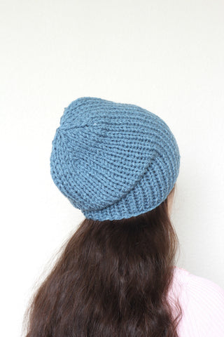 Beanie hat, knit hat, slouchy hat, knit beanie in dusty blue color