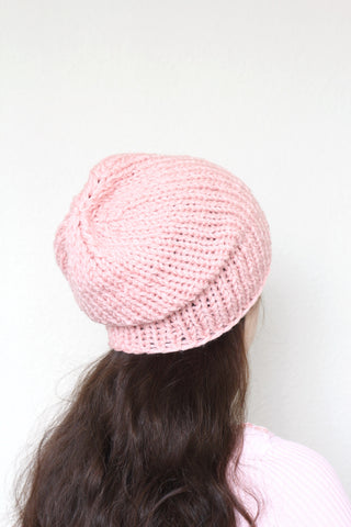 Beanie hat, knit hat, slouchy hat, knit beanie in soft pink color