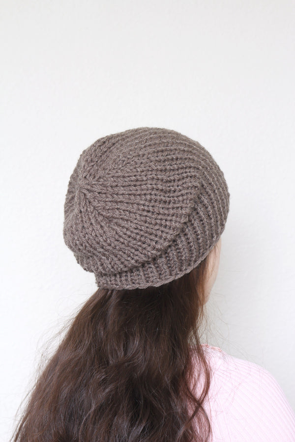 Beanie hat, knit hat, slouchy hat, knit beanie in taupe color