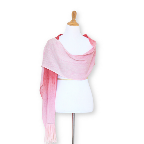 Handwoven scarf in dark and light pink shades, women scarf