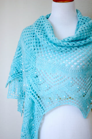 Handknit shawl, knitted shawl, shawl with beads, lace shawl, knit shawl in aqua blue color, shawl with pearls