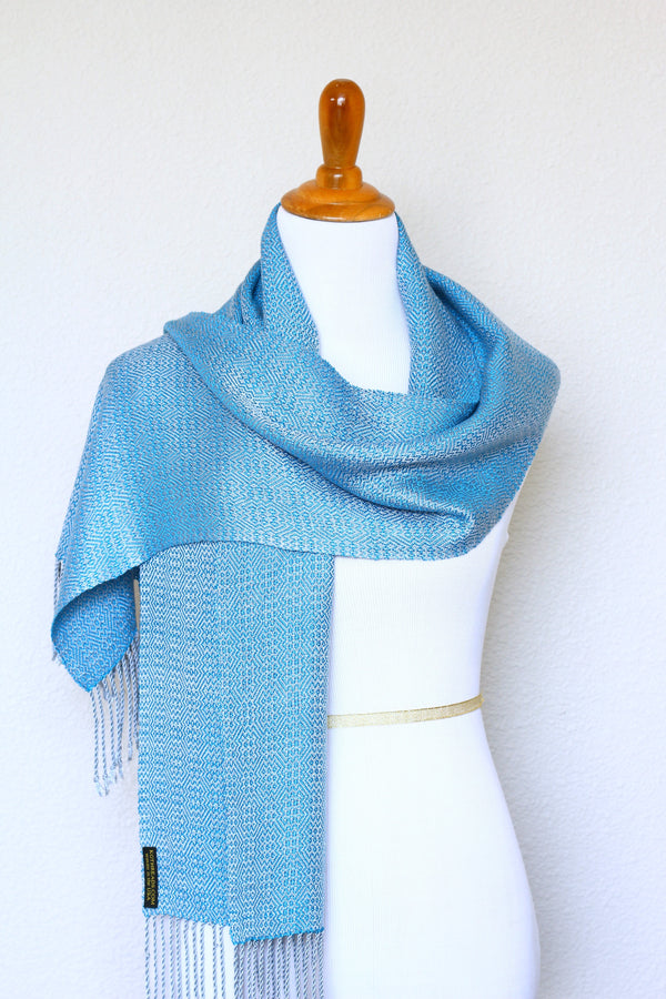 Woven scarf in blue and silver color, eucalyptus scarf with fringe