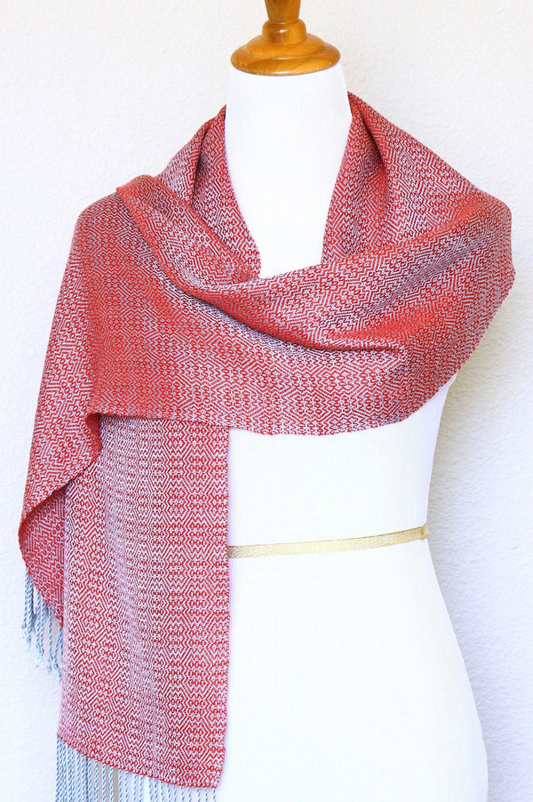 Woven scarf in red and silver color, eucalyptus scarf with fringe