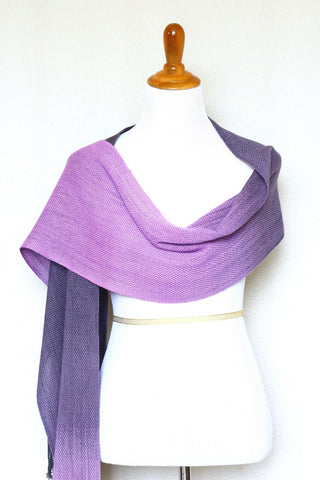 Woven scarf in gradient violet colors, wool scarf, gift for her