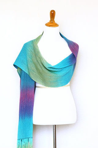 Woven scarf in purple, green and blue colors, gift for her