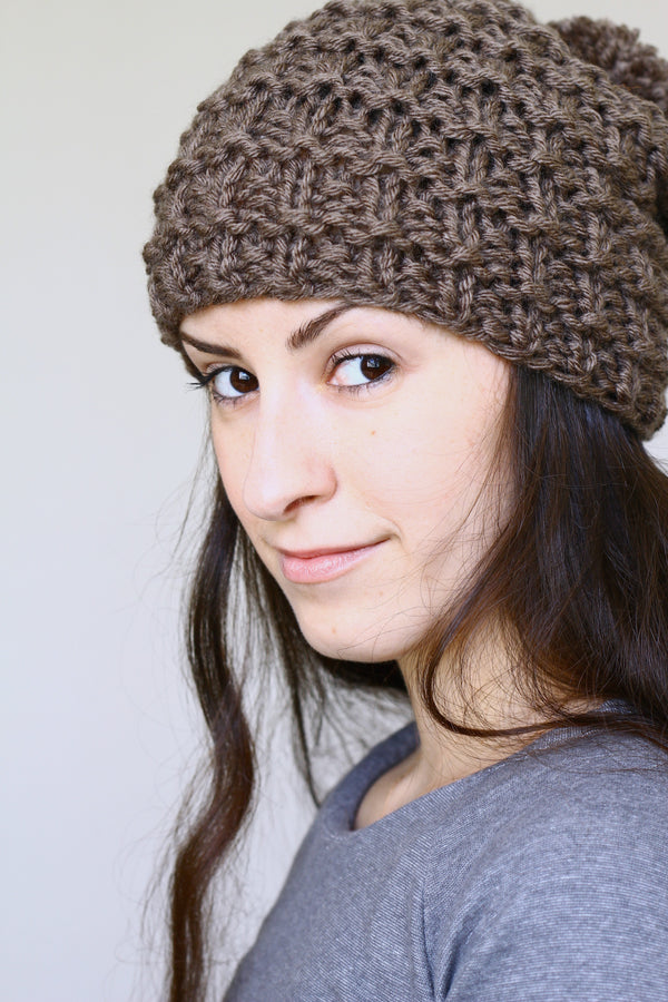 Knit beanie hat, slouchy hat with pom in taupe brown color