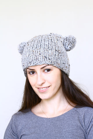 Knit hat with two poms, knit skull hat in silver grey color