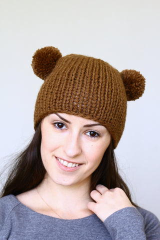 Knit hat with two poms, knit skull hat in chocolate brown color