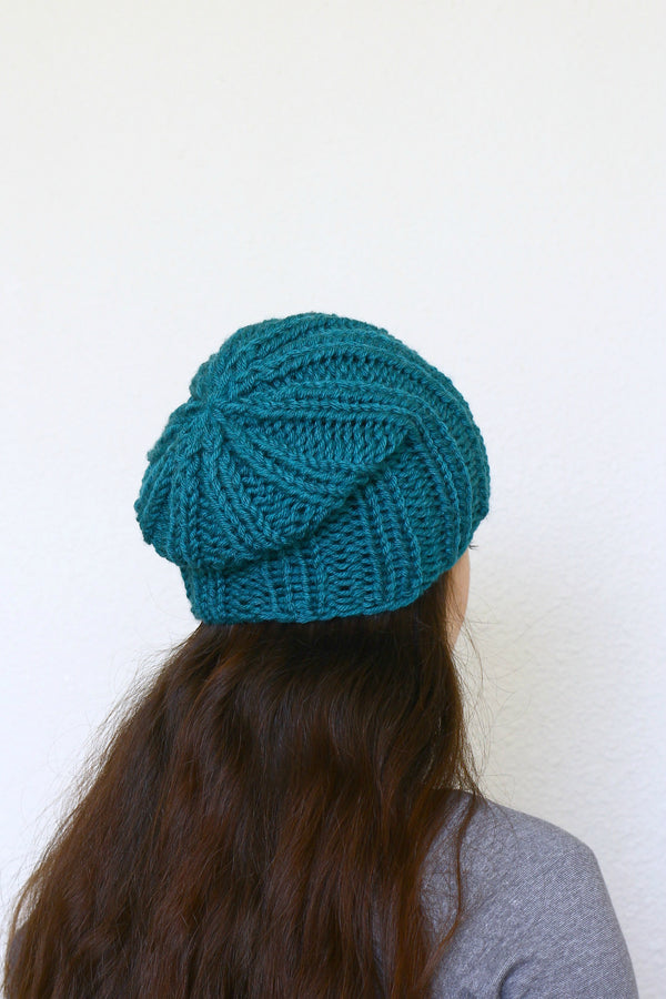 Knit beanie hat, slouchy hat in teal blue color