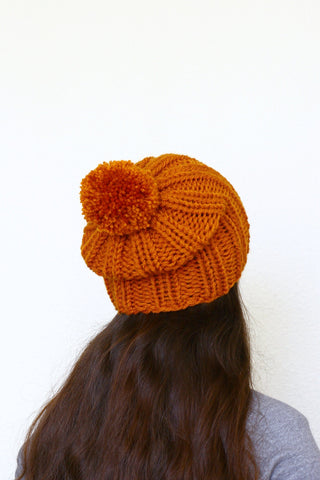 Knit beanie hat, slouchy hat in rust orange color